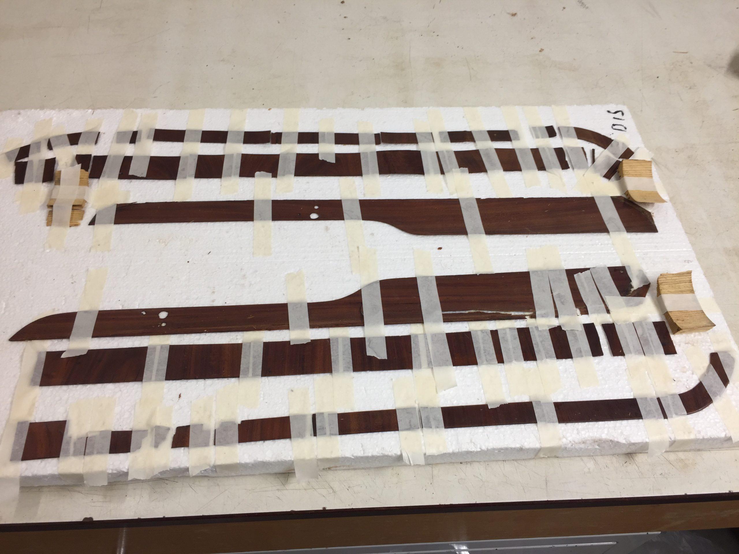 8. The veneer of both sides of the pinblock is taken off.