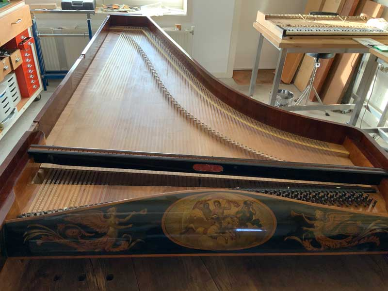 24. Overview of piano with strings and damper rail (without dampers).